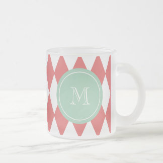Coral White Harlequin Pattern, Mint Monogram Frosted Glass Coffee Mug