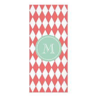 Coral White Harlequin Pattern, Mint Monogram Custom Invitation