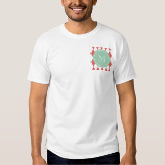 Coral White Harlequin Pattern, Mint Monogram T Shirts