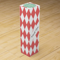 Coral White Harlequin Pattern, Mint Monogram Wine Gift Box