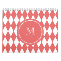 Coral White Harlequin Pattern, Your Monogram Calendar