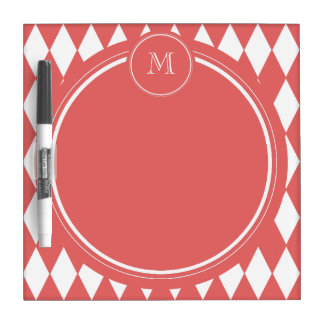 Coral White Harlequin Pattern Your Monogram Dry Erase Whiteboards