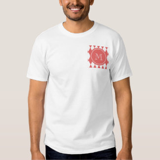 Coral White Harlequin Pattern, Your Monogram T-shirt