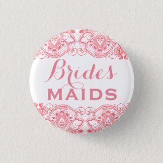 Coral & White Lace Bridesmaids Button 2
