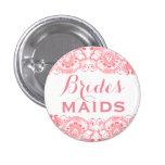 Coral & White Lace Bridesmaids Button 2 1 Inch Round Button
