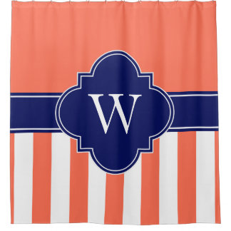 Navy Coral Shower Curtains Zazzle