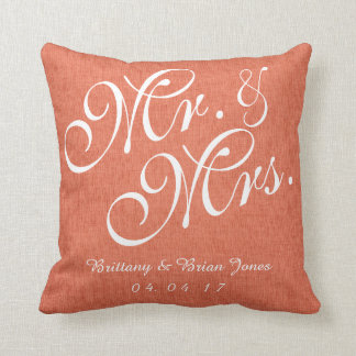 Coral White Linen Mr. and Mrs. Wedding Pillow