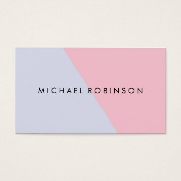Professional Business Coral white Modern Faux Geometric Pink color block Business Card