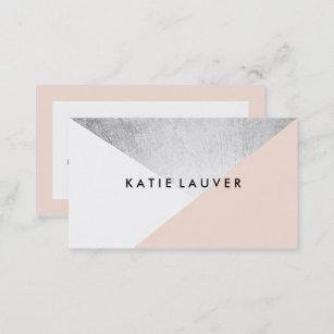White business cards templates zazzle coral white modern faux silver foil color block business card colourmoves