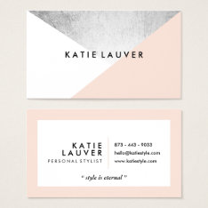 Coral White Modern Faux Silver Foil Color Block Business Card at Zazzle