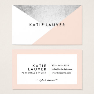 Geometric - Coral white modern faux silver foil color block business card