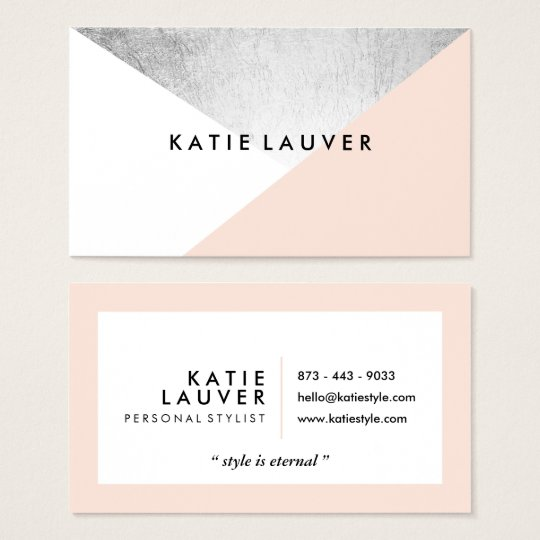 C White Modern Faux Silver Foil Color Block Business Card