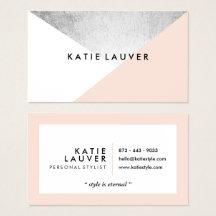 Coral white modern faux silver foil color block business card