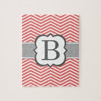 Coral White Monogram Letter B Chevron Jigsaw Puzzle