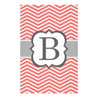Coral White Monogram Letter B Chevron Stationery