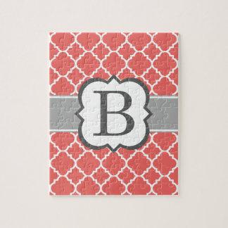 Coral White Monogram Letter B Quatrefoil Jigsaw Puzzle