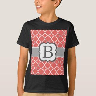 Coral White Monogram Letter B Quatrefoil T-Shirt