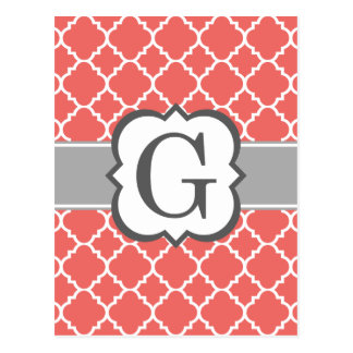 Coral White Monogram Letter G Quatrefoil Postcard