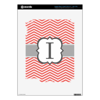 Coral White Monogram Letter I Chevron Decals For iPad 3