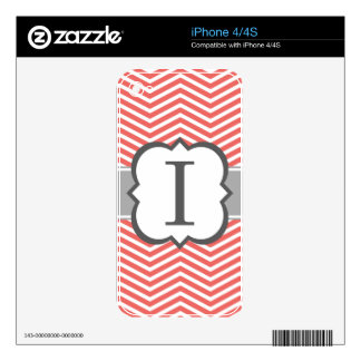 Coral White Monogram Letter I Chevron Decals For The iPhone 4