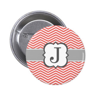Coral White Monogram Letter J Chevron 2 Inch Round Button
