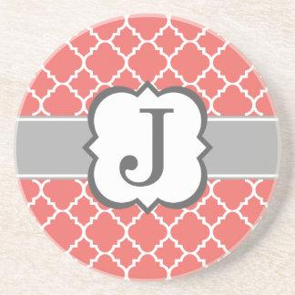 Coral White Monogram Letter J Quatrefoil Coaster