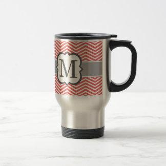Coral White Monogram Letter M Chevron Travel Mug