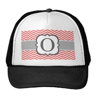 Coral White Monogram Letter O Chevron Trucker Hat