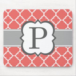 Coral White Monogram Letter P Quatrefoil Mouse Pad
