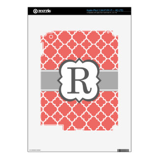 Coral White Monogram Letter R Quatrefoil Decal For iPad 3