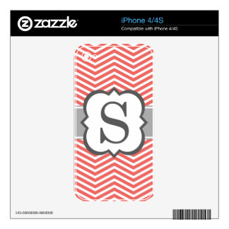 Coral White Monogram Letter S Chevron Skins For iPhone 4S