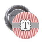 Coral White Monogram Letter T Chevron 2 Inch Round Button