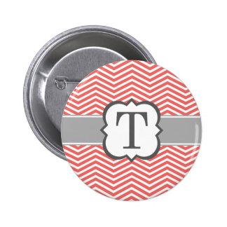 Coral White Monogram Letter T Chevron Pinback Button
