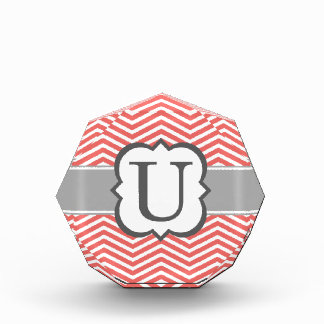 Coral White Monogram Letter U Chevron Award