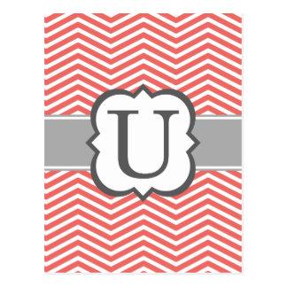 Coral White Monogram Letter U Chevron Postcard