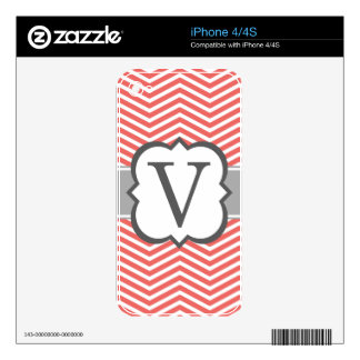 Coral White Monogram Letter V Chevron iPhone 4S Skin