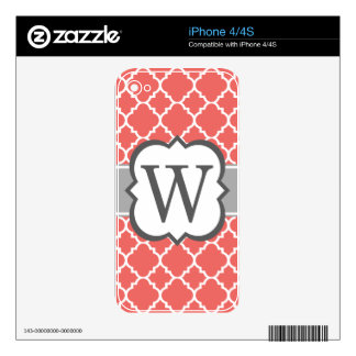Coral White Monogram Letter W Quatrefoil Skins For The iPhone 4