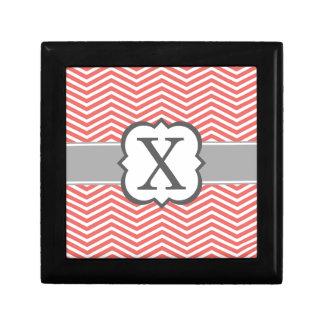 Coral White Monogram Letter X Chevron Keepsake Boxes