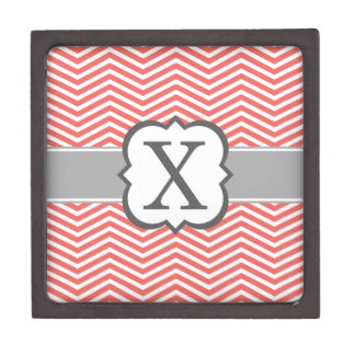 Coral White Monogram Letter X Chevron Premium Gift Boxes