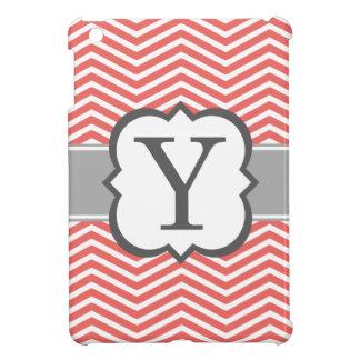 Coral White Monogram Letter Y Chevron iPad Mini Covers