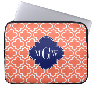 Coral White Moroccan #6 Navy 3 Initial Monogram Computer Sleeve