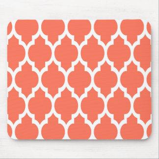 Coral White Moroccan Quatrefoil Pattern #4 Mouse Pad