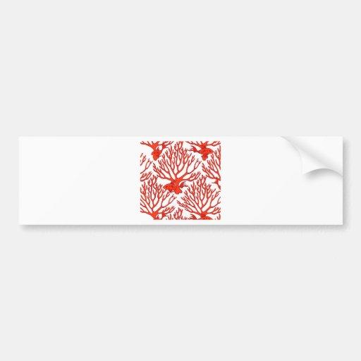 CORAL_white_orange Bumper Sticker