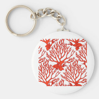 CORAL_white_orange Keychain