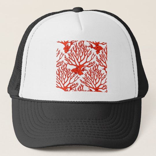 CORAL_white_orange Trucker Hat