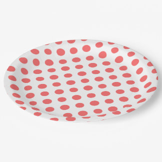 Coral White Polka Dots Pattern 9 Inch Paper Plate