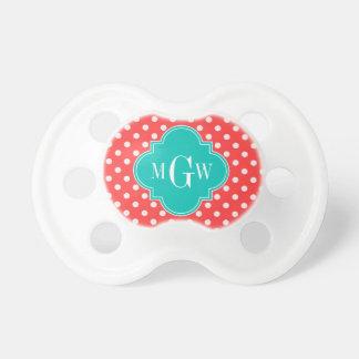 Coral White Polka Dots Teal Quatrefoil 3 Monogram Pacifier