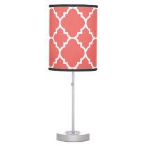 Coral White Quatrefoil Moroccan Pattern Desk Lamp