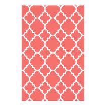 Coral White Quatrefoil Moroccan Pattern Stationery