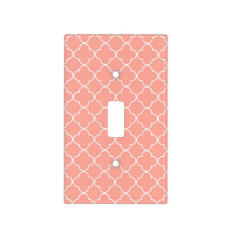 Coral White Quatrefoil Pattern Light Switch Cover